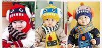 2014 Autumn and winter Baby Hat Head Cap Baby Bonnet Hat Scarf 2 set robots free shipping