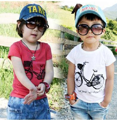 Min Order any 2 pcs in the shop Sz90~130 boys summer t-shirts children clothing kids short sleeve t-shirt girls t shirt bicycle(China (Mainland))