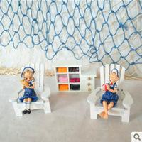 Mediterranean-style Wooden chair  mini Beach Chair doll Ornaments Photography Props Home  gardern Decoration