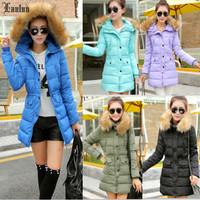 Lanluu New Brand 2014 Winter Big Fur Collar High Quality Slim Long Women Down Cotton Coats SQ991