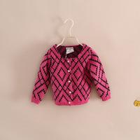 high quality brand design children girl rhombus soft sweater knitwear cardigan 2-9 years