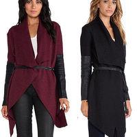 2014 New Women Winter Irregular Plus size Coat Wool Jacket Faux Leather Sleeve Lapel Woolen Outwear Belted