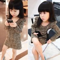 Baby Girl Fashion Leopard Printed Dress Kids Spring-autumn Long Sleeve Mini Dress vestido infantil nova 5 Sizes