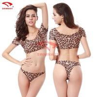 High quality new 2015 Brazilian bikini set swimsuit  women swimwear leopard sexy split  biquini vintage DM062