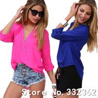 Women Clothing 2014 Spring Summer Can Be Chock Temperament Female Models Long-sleeved V-neck Shirt Loose Chiffon Shirts