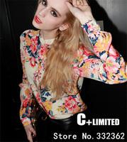 European And American  2014 Fashion New Sexy Autumn Floral Chiffon Shirt Female Long-Sleeved Shirt Slim Shirts Big Yards