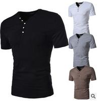 Free shipping 2014 band Fashion t shirt camisa masculina  t-shirt men v-neck short sleeve button t shirt