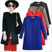 New Celeb Style Solid Outwear Slim Coat Woolen Coat Blue Red Black Khaki Trench Outwear Autumn Coat CX656704