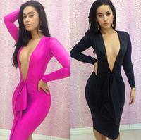 New arrival European fashion nightclub deep V-neck Sexy dress for women 2014 autumn ruffles long sleeve slim casual Dress fw-525