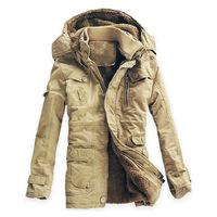 New Mens High Quality 100%  Cotton Thickhen Winter Snow Warm Coat,Hooded Faux Fur Parkas,Black,Khaki,Size M-5XL,AW1502,Free Ship