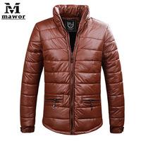 Mens 2014 Winter New Casual PU Leather Jacket Fashion Slim Fit Down & Parkas Outdoors,Windproof, Waterproof Warm Winter Men Coat