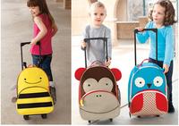 Free shipping 1pcs retail canvas backpack wheel children school bags Penguin Owl backpacks