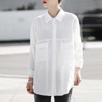 Women Cotton Oversized Shirt Long Sleeves White shirt Plus Size Sheer blusas femininas Casual Boyfriend Blouse roupas blusa Tops
