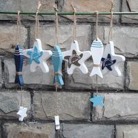 3pcs/set Mediterranean style creative wooden fish and star pendant string  decorative door hanging room dividers nautical decor