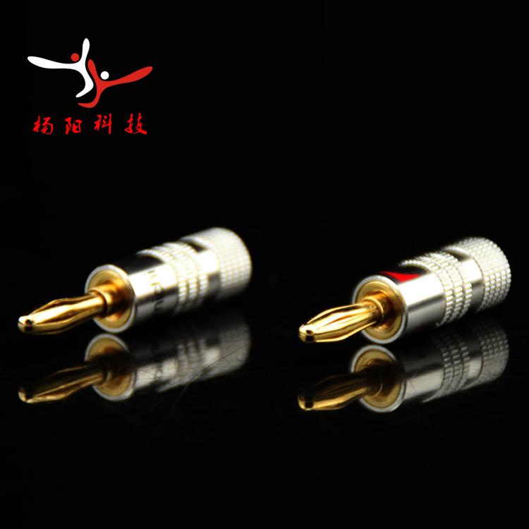 24pcs/lot! 4mm Nakamichi Speaker Banana Plugs 24K Gold Adapter Pure Copper Connector Socket Audio Jack Screw Black Red RCDNK(China (Mainland))