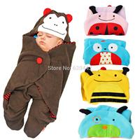 Baby Cartoon Blanket Boys Girls Polar Fleece Sleeping Bag SKP Zoo Animals Hoodie for Baby Stroller Free Drop Shipping Wholesale