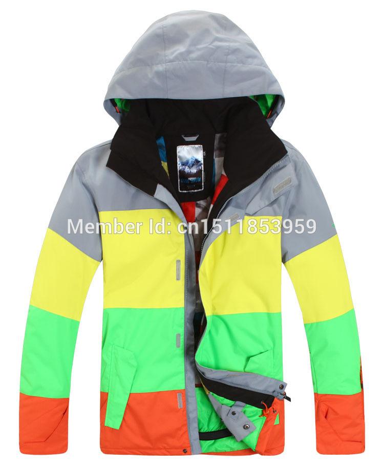 free shipping jacket color matching snowboard jacket skiing jacket waterproof breathable winter warm ski jacket(China (Mainland))