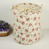 Zakka fluid fabric folding storage box Large toy storage basket Rose pattern storage bag laundry basket with Drawstring 30*40cm