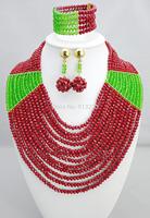 New Design Multistrand Nigerian Wedding Jewelry Set With Rhine   Flower Women African Beads Jewelry Set BJ15458
