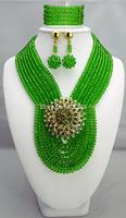 New Design Multistrand Nigerian Wedding Jewelry Set With Rhine   Flower Women African Beads Jewelry Set BJ15430