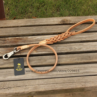 10pcs/lot 2014 New handcrafted Large Pet Dog Leads Genuine Leather double Puppy traction rope for dogs