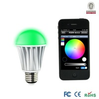 Bluetooth 7W led  Lamp Aluminum RGBW (RGB+Warm white) E27 LED Bulb For Iphone 4S or 5 & Android V 4.3 AC85-240V