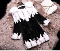 FS710025 Luxury Genuine Mink Fur Coat Jacket Garment  Fox Collar Natural  Top Long Customized Sizes Wholesale Retail OEM