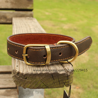 20pcs/lot Genuine Leather Medium and Large pet Dog collars Top quality brass buckle cowhide collar for dogs