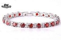 Red Synthetic Gemstone Fine Lady Cubic  Zircon Silver Bracelet  Wedding Party Jewelry ZC305BR