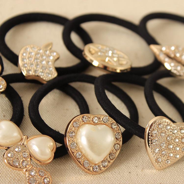 Korean Original Bow Pearls Flowers Rubber Band Casual Hair Ring for Women Headwear Hair Accessories(China (Mainland))