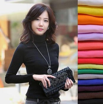 Новый 2015 высокое качество мода весна осень зима свитер женщин шерсти водолазки ...