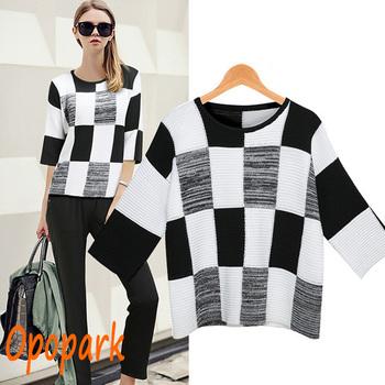 2014 новое поступление знаменитости мода половина рукава черный и белый плед вязание пуловеры женщин свитер осень зима прямая поставка ST157