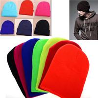 Fashion Plain Beanie Knit Ski Cap Skull Hat Warm Solid Cool Winter Cuff New Blank Beany Free Shipping