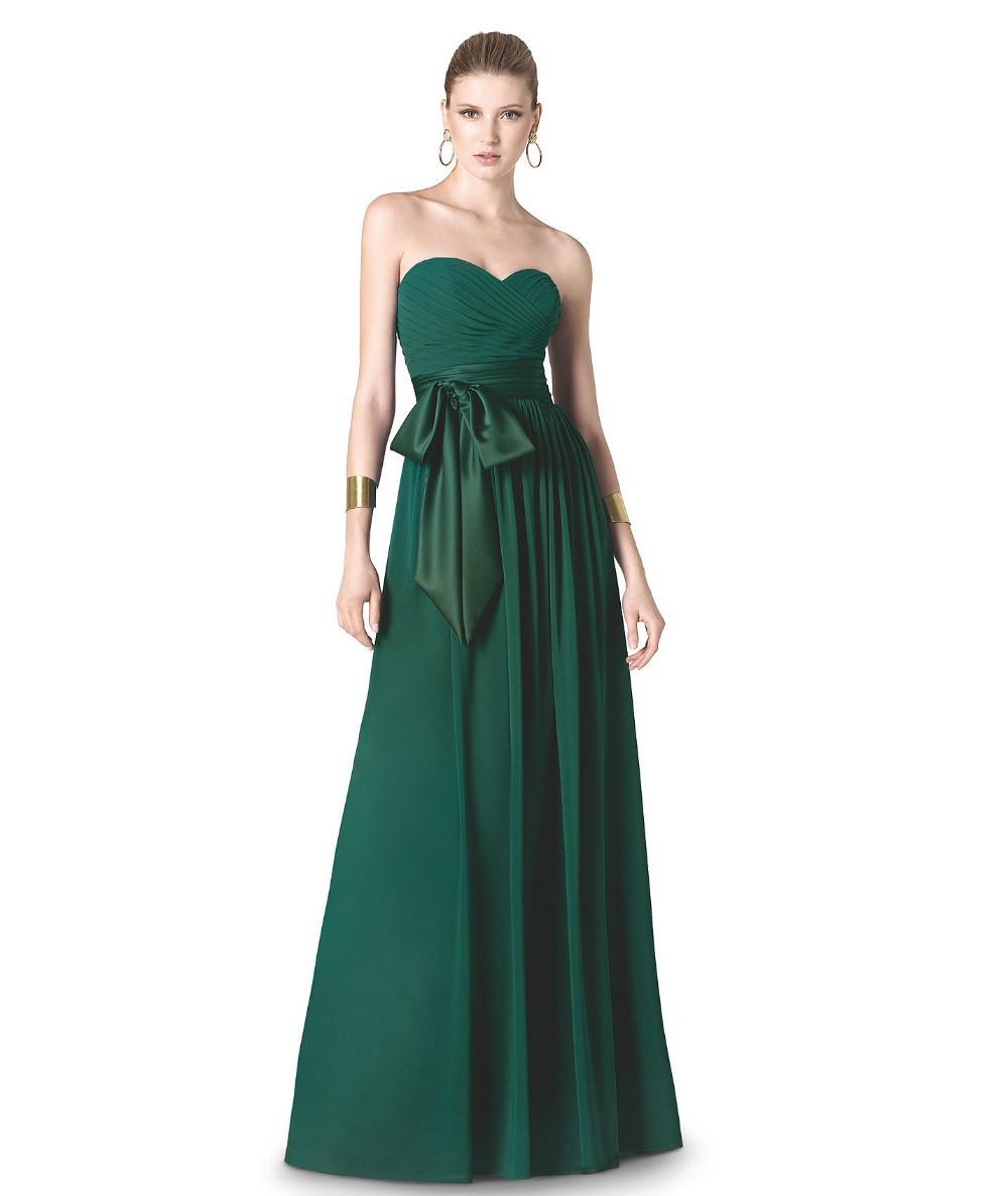 Cheap Sleeveless Sweetheart Strapless Long Chiffon Emerald Green Bridesmaid Dress Discount(China (Mainland))