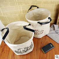 Creative Household  Pastoral Fabric Finishing Laundry basket toys Zakka no cover Cotton Cloth laundry Storage basket