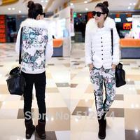 2014 Fashion Two-Piece Suit Women Winter Jackets Women Eiderdown Cotton Warm Fur Collar Jacket Cotton Trousers Women Pants