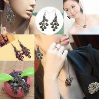 Christmas gift!!Vintage Alloy Blue Rhinestone Glittering Eardrop Peacock Earrings New Fashion V3NF