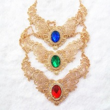Free Shipping! Fashion Gold Hollow Lace Flower Red Imitation Diomand Pendant Necklace Crystal. 2013 Jewlery For Women Party