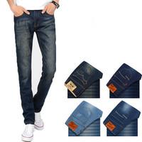 Brand Mens Pants Jeans, Brand Slim Fit Cotton Long Denim, Casual Classic Male Pants Mid-Rise Straight Trousers Jeans M10048