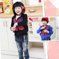 Children Clothing 2014 Autumn New Korean Kids Boy Clothes Cartoon Sweater Hoody Coat Boys Cartoon Spider-Man Jacket