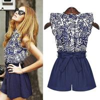 2pcs Blouses + Shorts 2015 Summer women's Blue and White Jumpsuits Jumpsuit New Fashion cotton Cottonfabric Bodysuit Women Dress