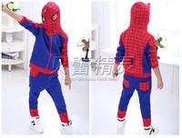 Children's Clothing 2014 Autumn Kids Boy Clothes Cartoon Sweater Hoody Coat Set Boys Sportswear Sports Suit Spider-Man Suit