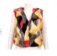 New 2014 Fashion Women  Hit color Nature Silver Fox Fur Vest Real Fur Short Style Warm Fur waistcoat Cute Spell Fox Fur Gilet