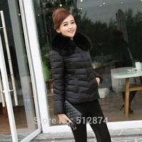 2014 Fashion Women Eiderdown Cotton Coat Women's Coat Eiderdown Cotton Outerwear Long-Sleeved Lady Warm Fur Collars Jacket