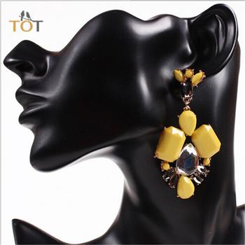Bxeh горячие продаж 2014 роскошные геометрия серьги элегантный смола кристалл Grandes желтый для женщин ну вечеринку ювелирные изделия 33651