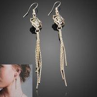 Fashion 2014 New Gold Filled Rose Earrings Lady Tassel Eardrop Pendant Shiny Jewelry V3NF
