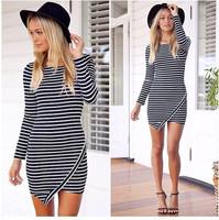 New Arrival Free Shipping Trendy Women's Dress Slim Stylish Striped Dress Long-sleeve O-neck Flouncing Sexy Party Dress LQ4772
