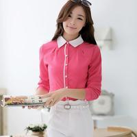 2014 Spring Patchwork Long-sleeved Women's Shirt Women Fashion Autumn Blouse Shirt Professional Occupation tops