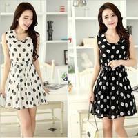 Free Shipping 2014 Summer New Elegant Fashion Ladies Korean Wave O-neck Sleeveless Dot Chiffon Vest Slim Lace Dress cloth012
