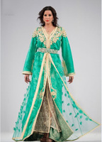 2014 New Fashion Kaftan V Neck Long Sleeves royal blue gold Beaded Long Robe Evening Dresses New Fashion Caftan
